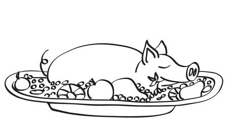 Jonge varkens vlees op de schotel. Contour r illustratie. Op wit wordt geïsoleerd.  Stock Illustratie