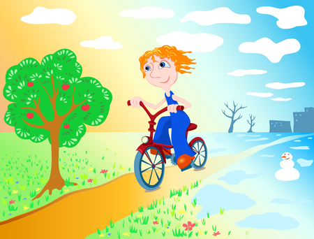 idzie: The boy goes on a bicycle from winter at summer. illustration.