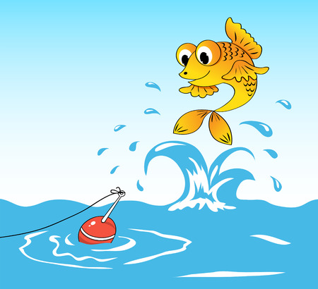 bobber: Fish jumps out of water and sees a float. Illustration