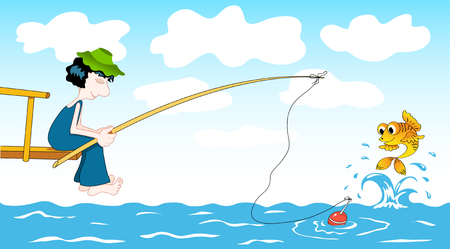 Fisher and goldfish. cartoon illustration. Vector