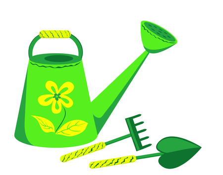 watering can: Garden tools. Watering can, rake and shovel. Isolated on the white.