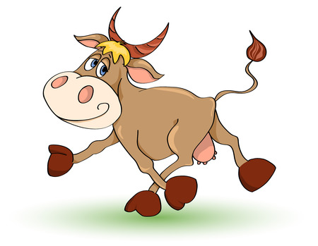 Cartoon mad cow. Isolated on white. illustration. Çizim