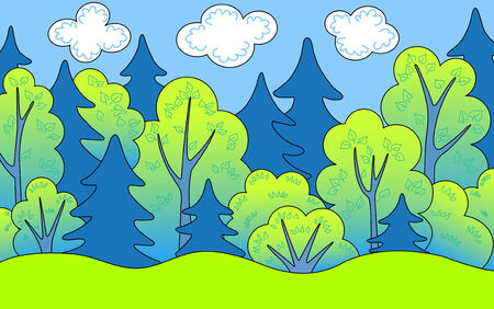 cartoon forest: Forest in the summer.