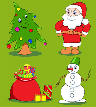 Christmas cartoon set.  Vector