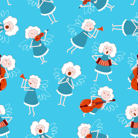 Music angels seamless pattern. Vector