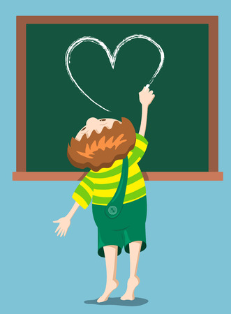 child of school age: The boy draws heart on the blackboard. Cartoon illustration.