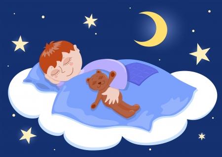 Jongen en zijn teddy slaap. Cartoon illustratie.  Stock Illustratie