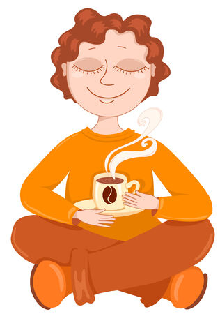 Boy drinks coffee. illustration. Isolated on white. Vector