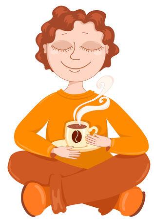man meditating: Boy drinks coffee. illustration. Isolated on white.