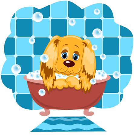 ba�o blanco: El perro se ba�a en un cuarto de ba�o. Ilustraci�n de dibujos animados.