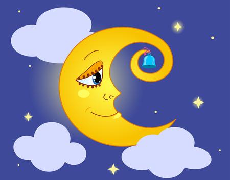 Moon in the sky. Cartoon illustration.