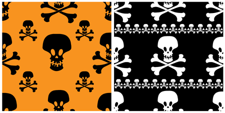 Two skull seamless patterns. Halloween backgrounds. Vector