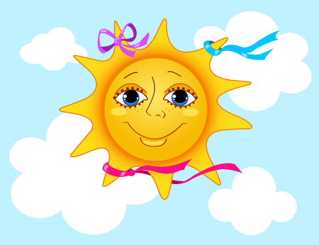 Sun in the sky. Cartoon illustration. Vector