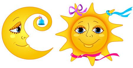 Luna y el sol. Aislados en un blanco. Ilustración de dibujos animados.