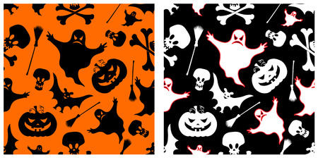 Two halloween seamless patterns. Pumpkin, witches broom, skeleton, bat, skull and ghost.   Vector
