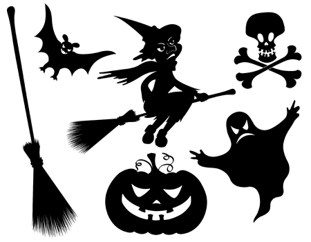 Halloween silhouettes. Witch, pumpkin, witches broom, skeleton, bat, skull and ghost. Vector
