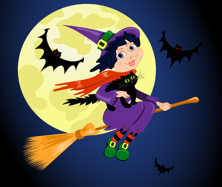 flying hat: The witch with a cat flies on the sky. Halloween   illustration.