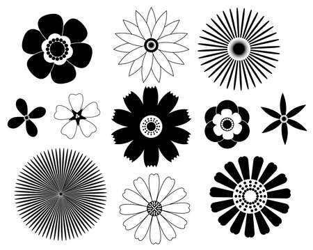 Set of floral elements. Black and white. silhouettes. Vector