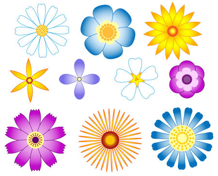 Ensemble de fleurs. Isolé sur fond blanc. illustration.