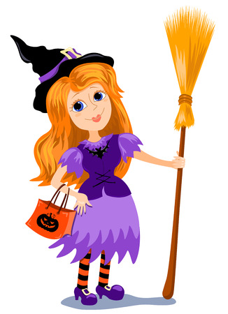 The girl in a costume of a witch with a broom. Cartoon illustration.