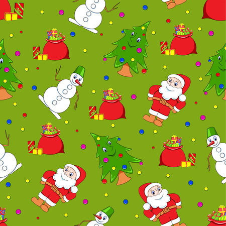 Seamless christmas patern. Cartoon backgrounds. On the green.  Vector