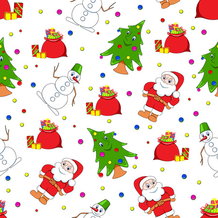 Seamless christmas pattern. Cartoon backgrounds. Stock Vector - 8095290