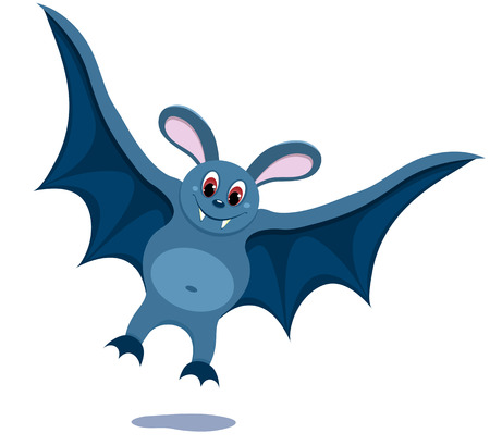 The cartoon smiling bat. On the white. illustration. Vector