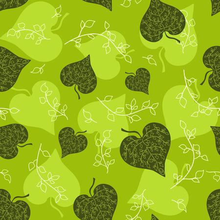 Bez szwu zielonymi liśćmi deseń. tła. Ilustracje wektorowe