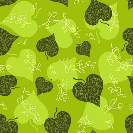 Seamless green leaves pattern. background. Illustration