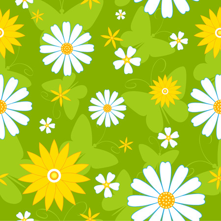 Seamless flowers pattern with butterflies. background. Vector