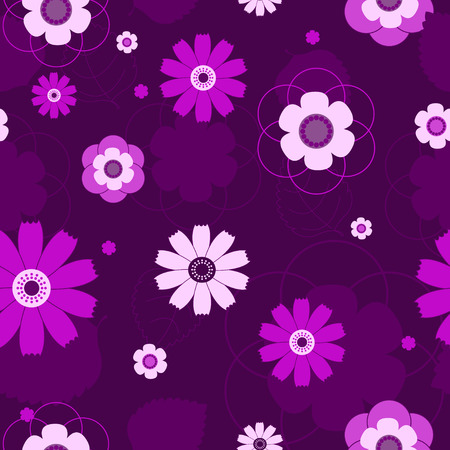 The seamless violet flowers pattern. background. Vector