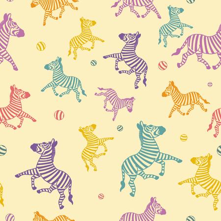 The cartoon zebra seamless. Color background.