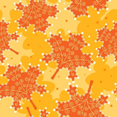 multi coloured: Seamless pattern yellow leaves.  Illustration