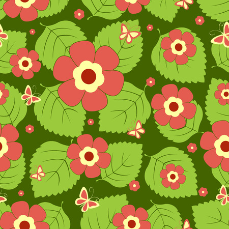 Seamless pattern red flowers. background. Vector