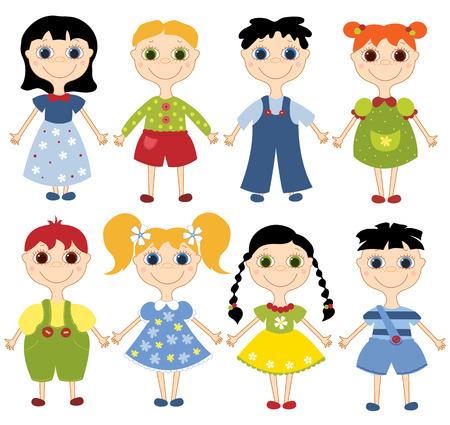 Cartoon children set. Eight happy children. On the white. illustration. Vector