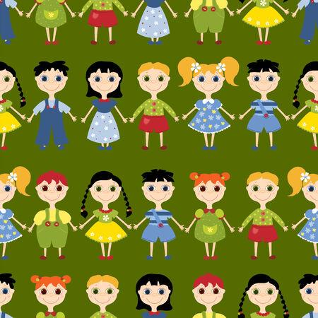 Seamless Pattern Cartoon Kinder. Hintergrund. Auf dem grün.