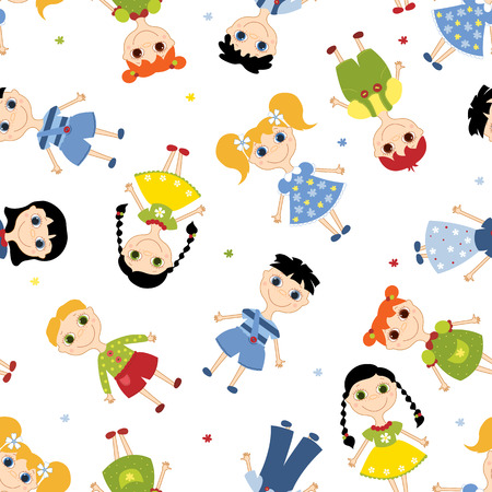 Seamless pattern cartoon children. background. On the white. Vector