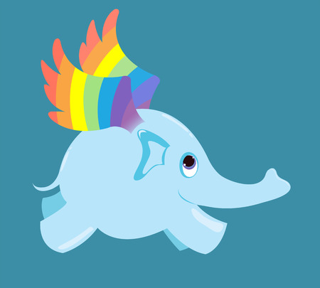 The flying elephant with  rainbow wings. Vector