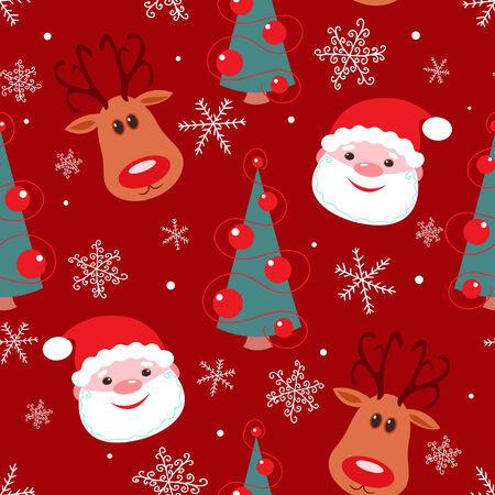 Modello di Natale senza soluzione di continuit�. Rudolph, santa, albero e fiocchi di neve su sfondo rosso. Vettoriali