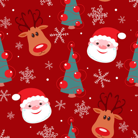 Seamless christmas pattern. Rudolph, santa, tree and snowflakes on red background. Vector