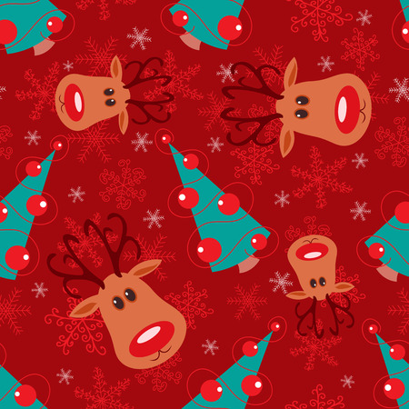 Seamless christmas pattern. Rudolph, tree and snowflakes on red background. Stock Vector - 8256502