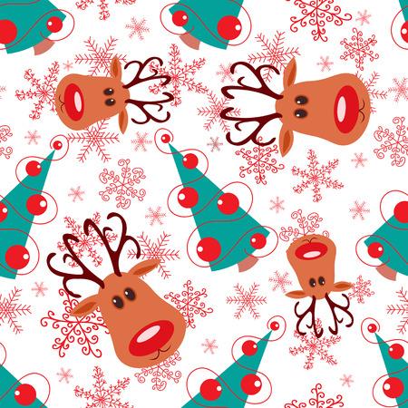 Naadloze Kerst patroon. Rudolph, boom en sneeuwvlokken op witte achtergrond.