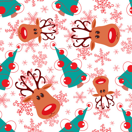 Seamless christmas pattern. Rudolph, tree and snowflakes on white background. Vector
