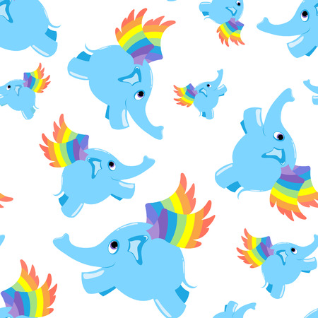 Seamless pattern blue flying elephant.  background. Vector