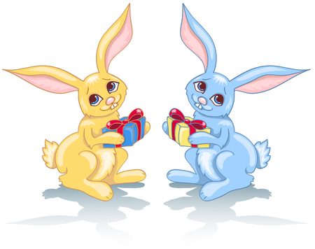 Two rabbits and gift. Blue and yellow. Isolated on white.   illustration. Stock Vector - 8377282
