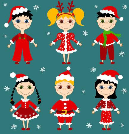 Set of six christmas children.   illustration. Vector