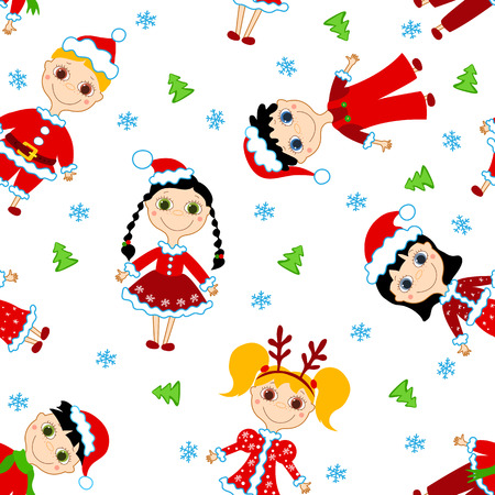 Seamless christmas children pattern.   background. Stock Vector - 8377283
