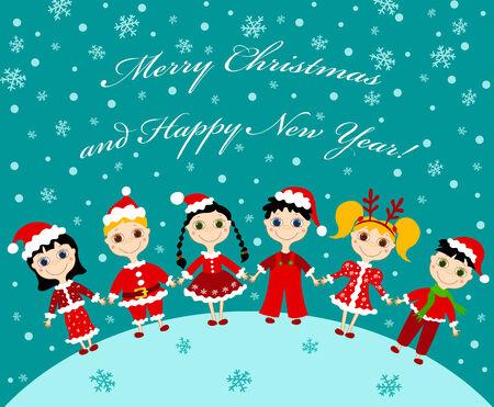 Christmas children card.  illustration. Vector
