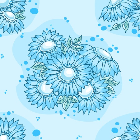 Seamless pattern blue flowers bouquet. Vector