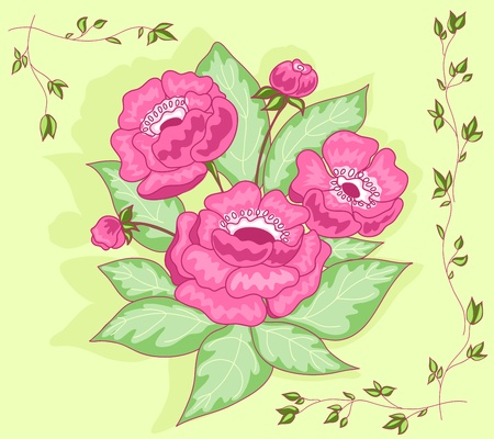 The pink flowers bouquet card. Vector